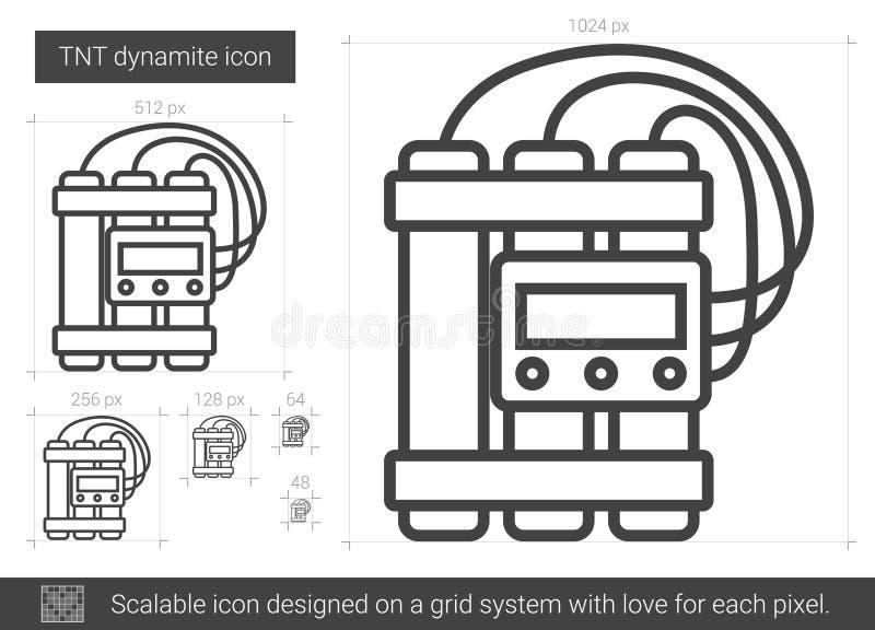 Linha ícone da dinamite de TNT ilustração stock