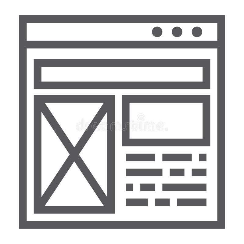 Linha ícone da disposição, Web site e projeto, sinal da janela do molde, gráficos de vetor, um teste padrão linear em um fundo br ilustração do vetor