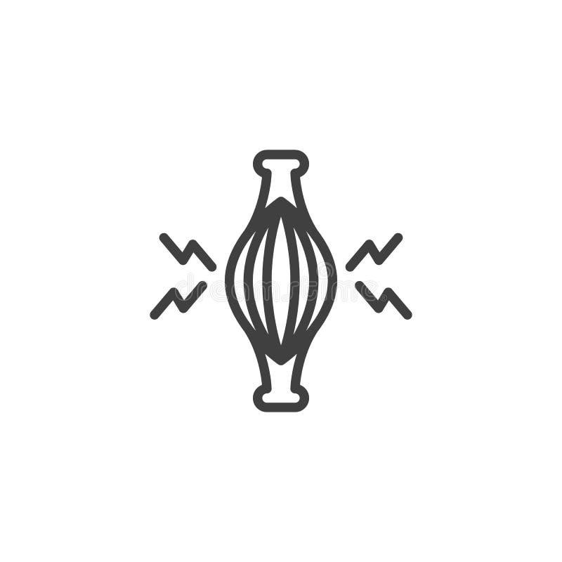 Linha ícone da dor de músculo ilustração stock