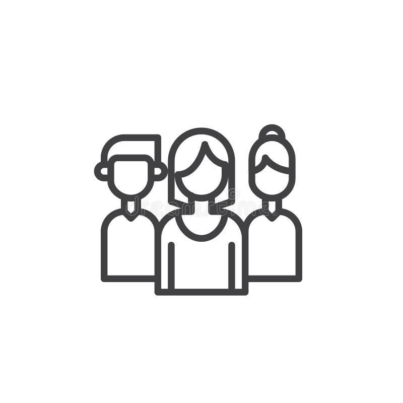 Linha ícone da equipe ilustração do vetor