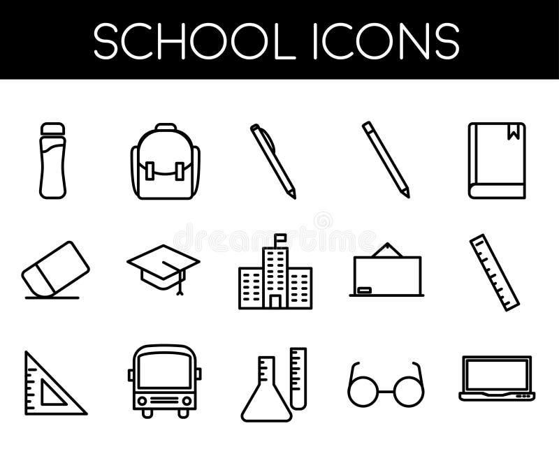 Linha ícone da escola ajustado com ícone simples ilustração do vetor