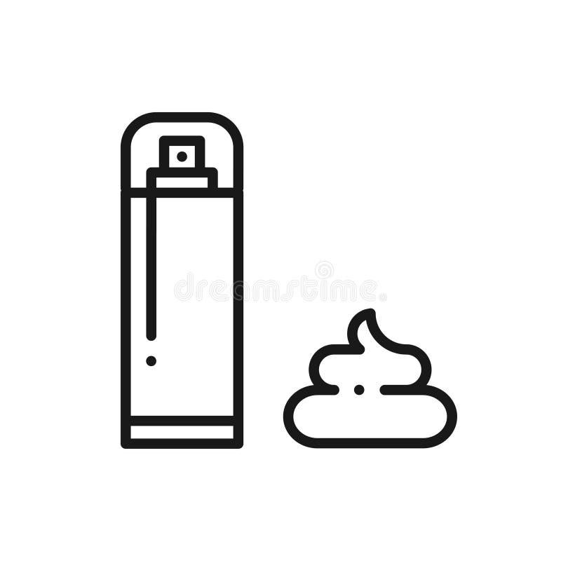 Linha ícone da espuma do gel do creme de rapagem Método da remoção do cabelo Depilação ilustração do vetor