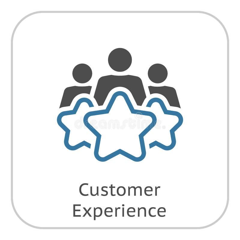 Linha ícone da experiência do cliente ilustração stock