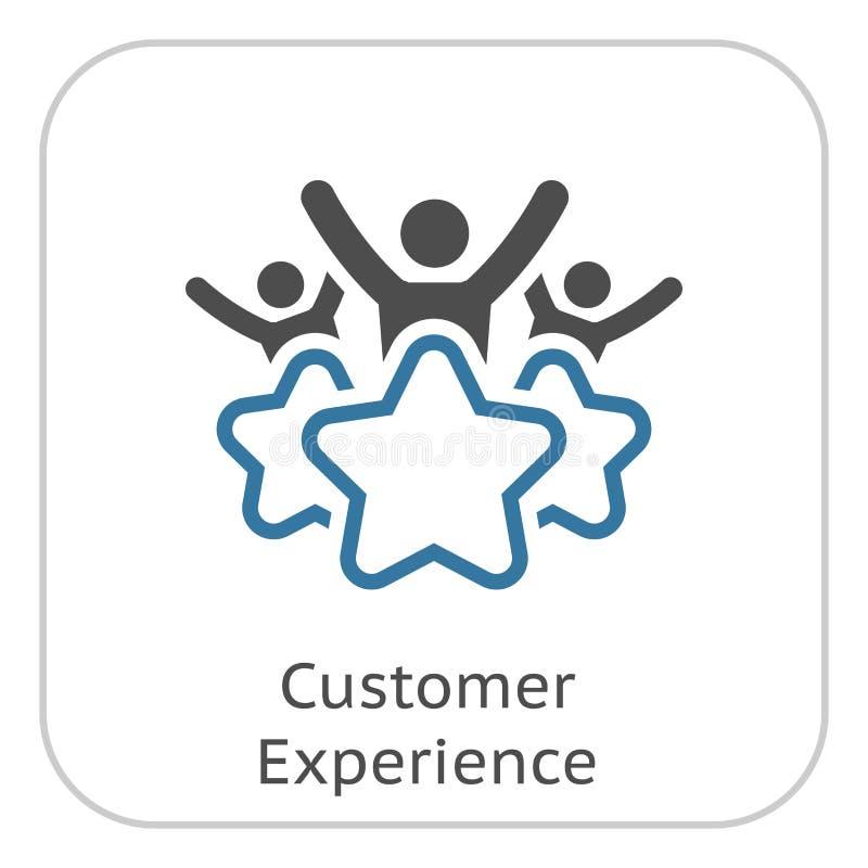 Linha ícone da experiência do cliente ilustração royalty free