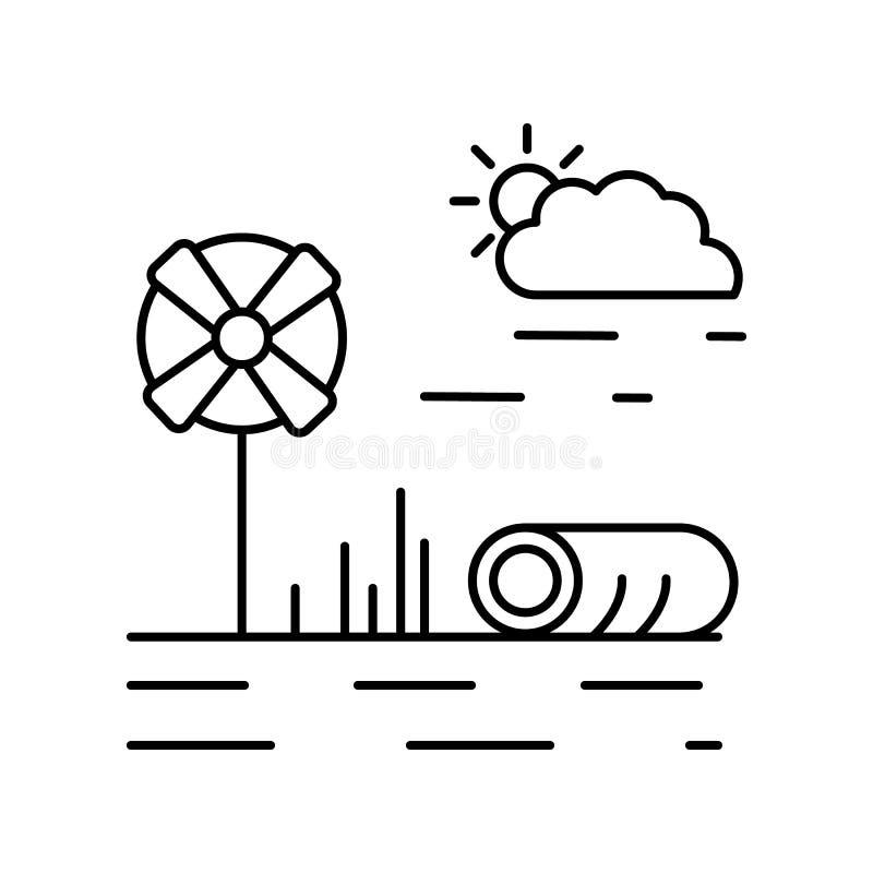 Linha ícone da exploração agrícola do moinho de vento do campo Elemento do ícone das paisagens ilustração do vetor
