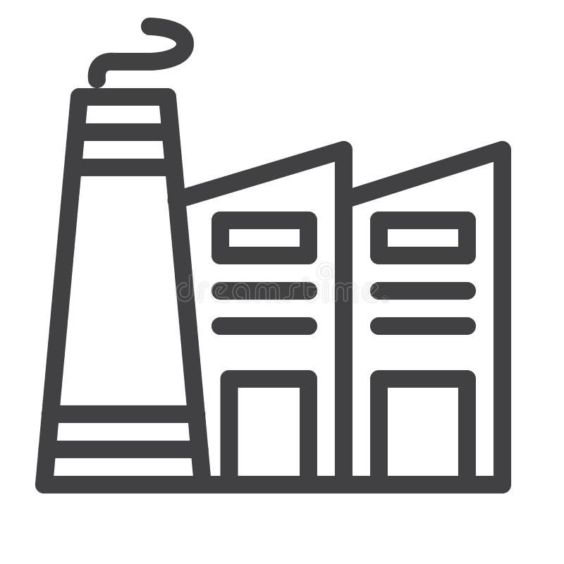 Linha ícone da fábrica ilustração stock