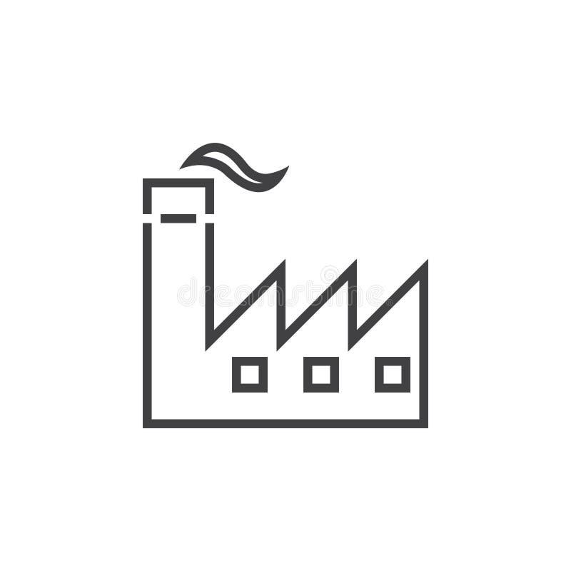 Linha ícone da fábrica, ilustração do logotipo do esboço da indústria, li ilustração royalty free