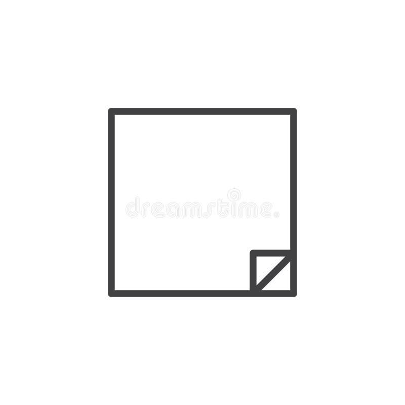 Linha ícone da folha do papel de nota do cargo ilustração do vetor
