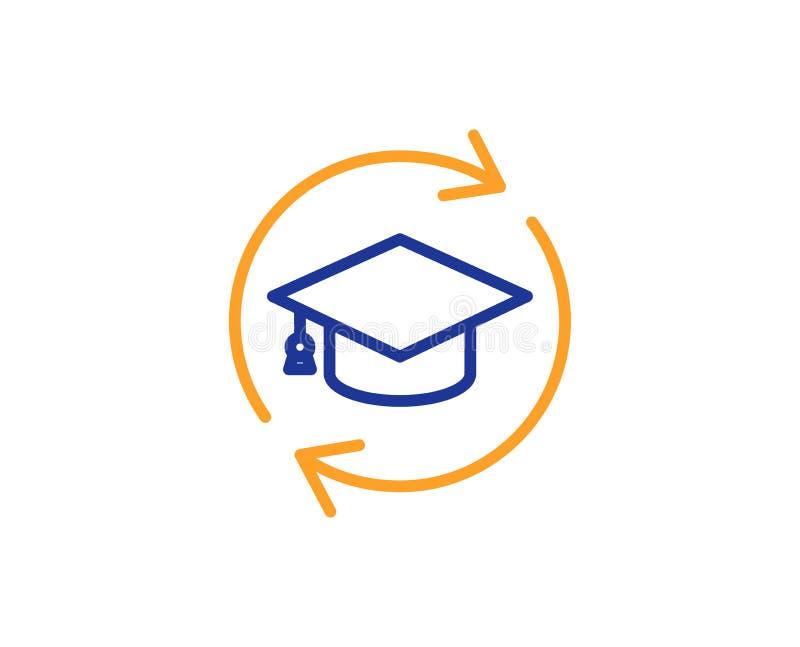 Linha ícone da formação permanente Sinal em linha da educação Vetor ilustração royalty free