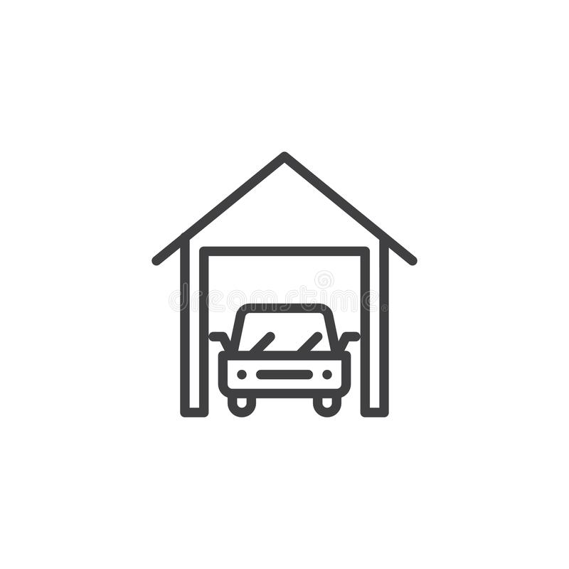 Linha ícone da garagem do carro ilustração royalty free
