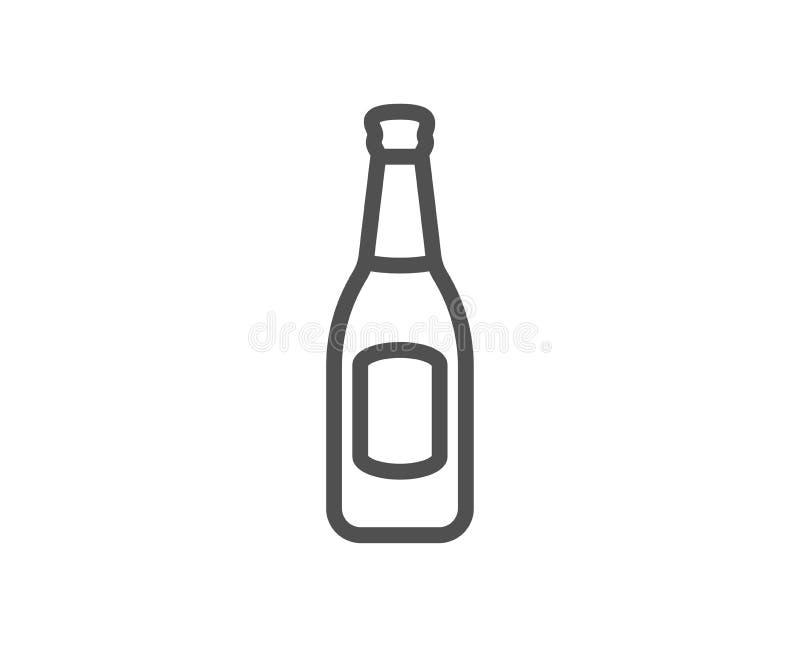 Linha ícone da garrafa de cerveja Sinal da cerveja do ofício do bar ilustração stock