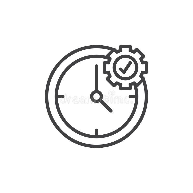 Linha ícone da gestão de tempo ilustração do vetor