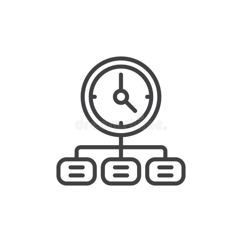 Linha ícone da gestão de tempo ilustração royalty free
