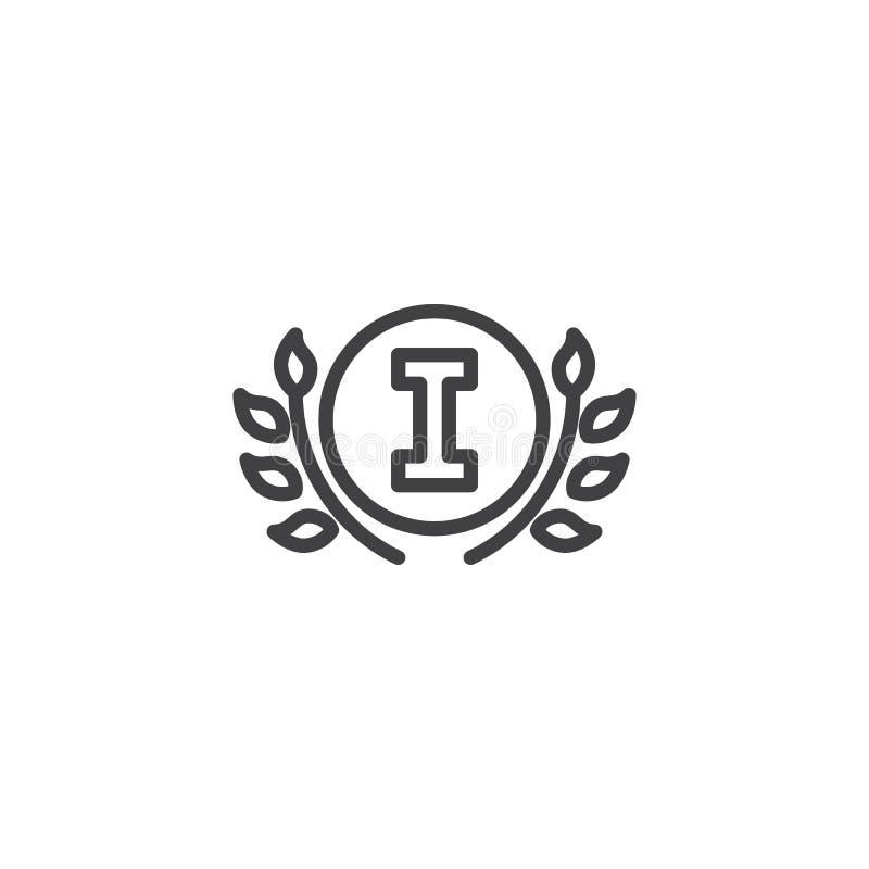 Linha ícone da grinalda do louro do campeão ilustração stock