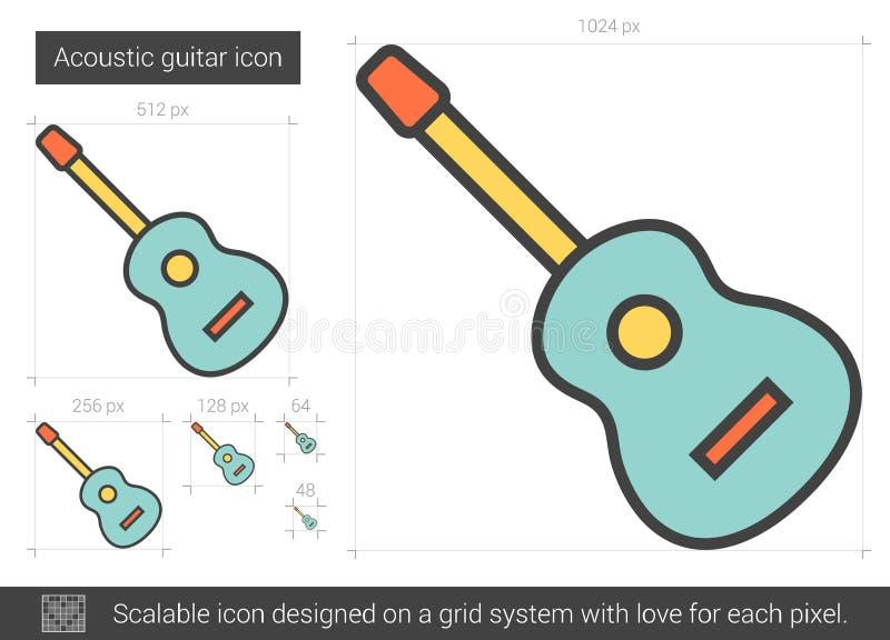 Linha ícone da guitarra acústica ilustração do vetor