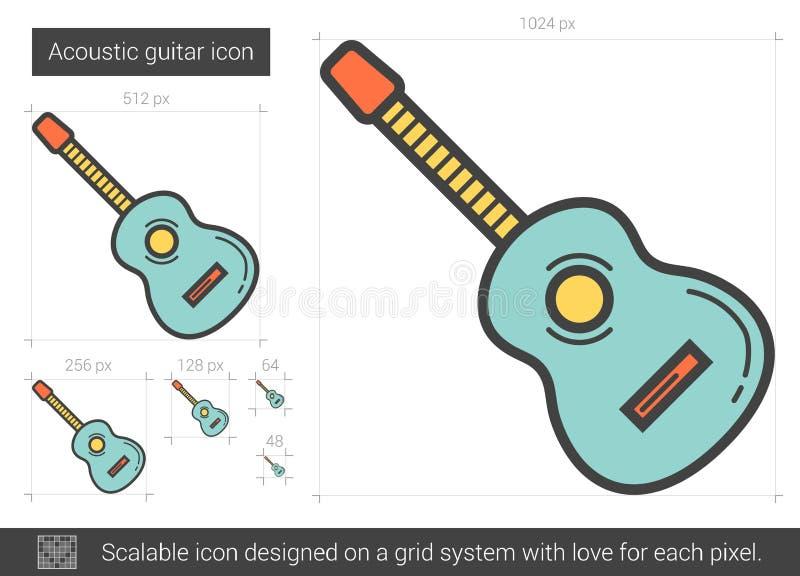 Linha ícone da guitarra acústica ilustração royalty free
