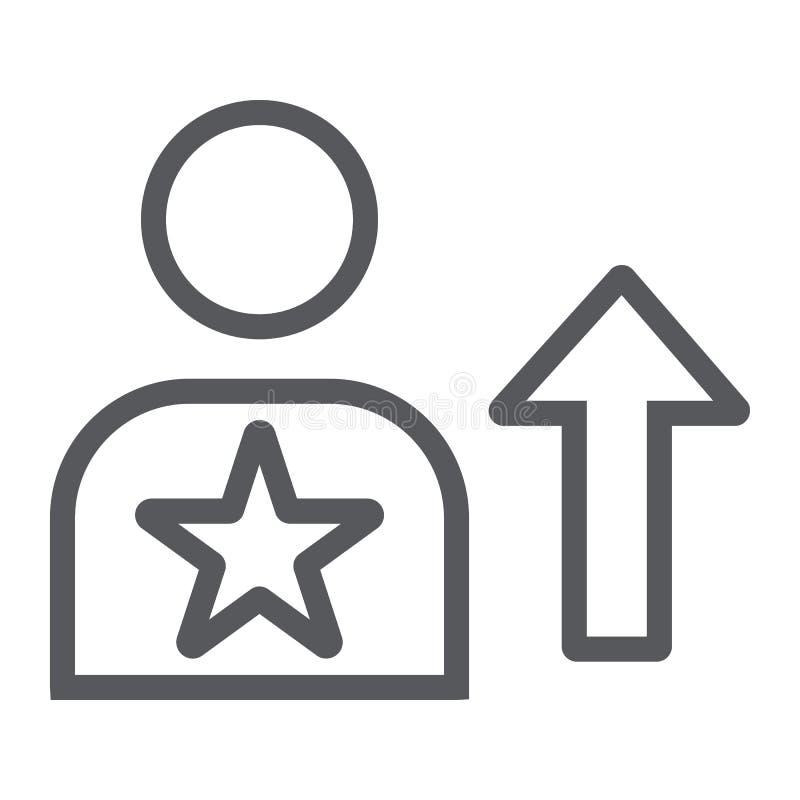 Linha ícone da habilidade, empregado e avaliação, sinal da pessoa, gráficos de vetor, um teste padrão linear em um fundo bra ilustração stock