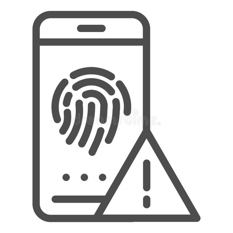 Linha ícone da identificação da impressão digital Ilustração do vetor da autorização isolada no branco Estilo do esboço do sensor ilustração stock