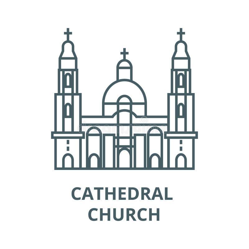 Linha ícone da igreja da catedral, vetor Sinal do esboço da igreja da catedral, símbolo do conceito, ilustração lisa ilustração do vetor