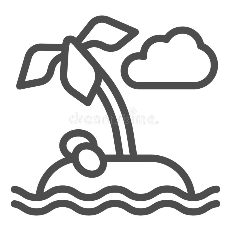 Linha ícone da ilha Ilustração do vetor da palmeira isolada no branco Projeto tropical do estilo do esboço, projetado para a  ilustração royalty free