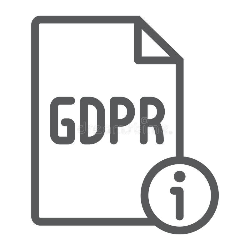 Linha ícone da informação de Gdpr, pessoal e privacidade, sinal da informação, gráficos de vetor, um teste padrão linear e ilustração royalty free
