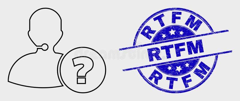Linha ícone da informação de operador e filigrana riscada do vetor do RTFM ilustração do vetor