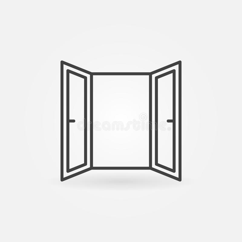 Linha ícone da janela aberta Símbolo da janela aberta do vetor ilustração do vetor