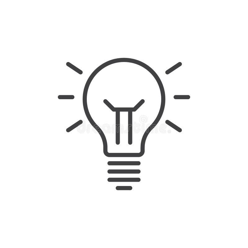 Linha ícone da lâmpada da ideia, sinal do vetor do esboço, pictograma linear do estilo isolado no branco Símbolo, ilustração do l ilustração royalty free