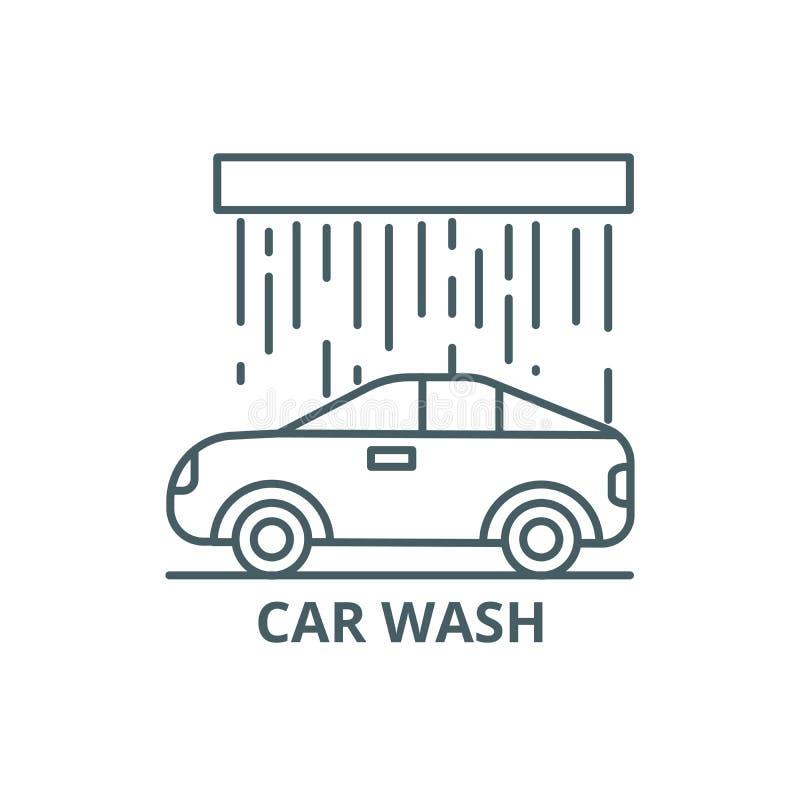 Linha ícone da lavagem de carros, vetor Sinal do esboço da lavagem de carros, símbolo do conceito, ilustração lisa ilustração royalty free