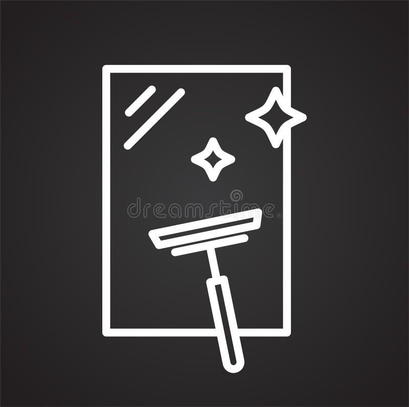 Linha ícone da limpeza de vidro no fundo preto para o gráfico e o design web, sinal simples moderno do vetor Conceito do Internet ilustração stock