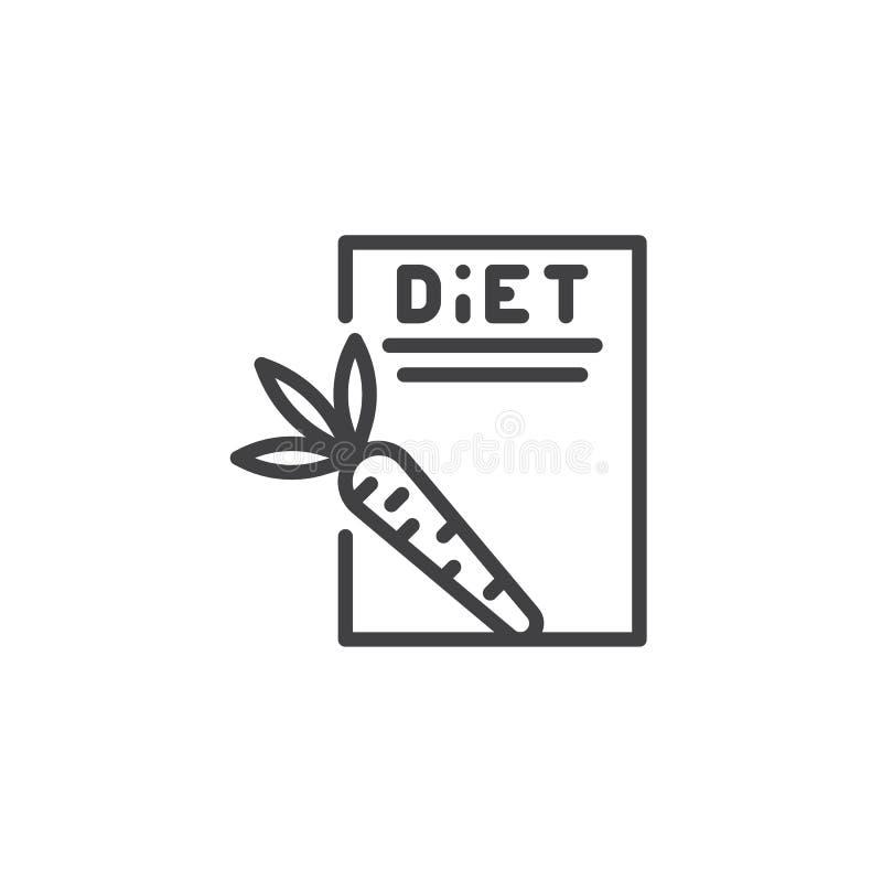 Linha ícone da lista de verificação do plano da dieta ilustração do vetor
