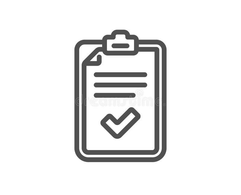 Linha ícone da lista de verificação Sinal do relatório da avaliação ilustração royalty free