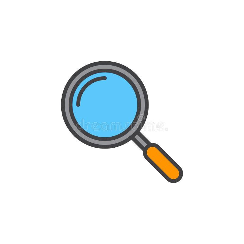 Linha ícone da lupa, sinal enchido do vetor do esboço, c linear ilustração stock