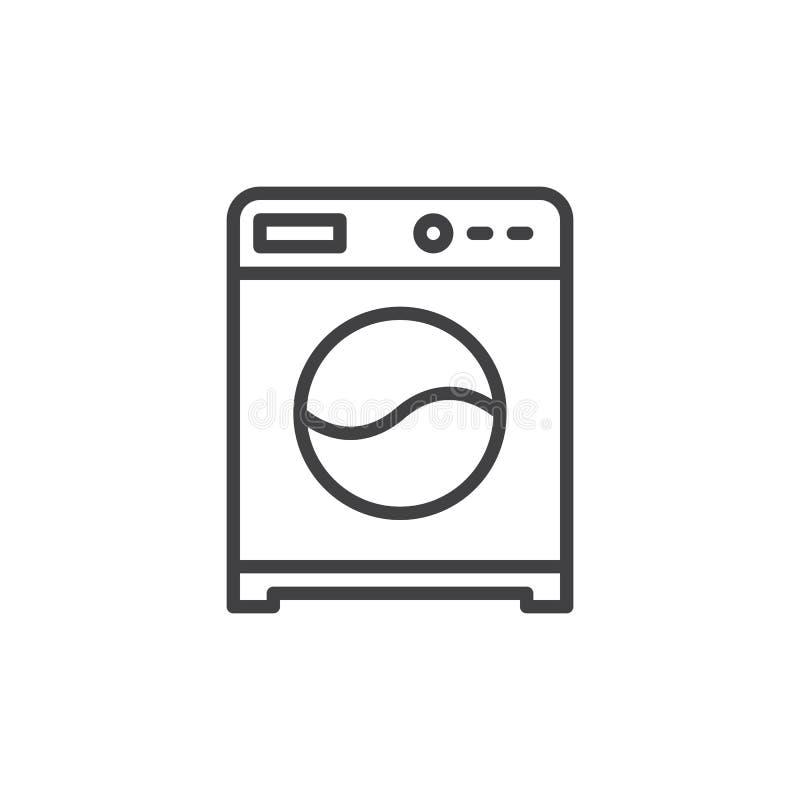 Linha ícone da máquina de lavar, sinal do vetor do esboço, pictograma linear do estilo isolado no branco ilustração do vetor