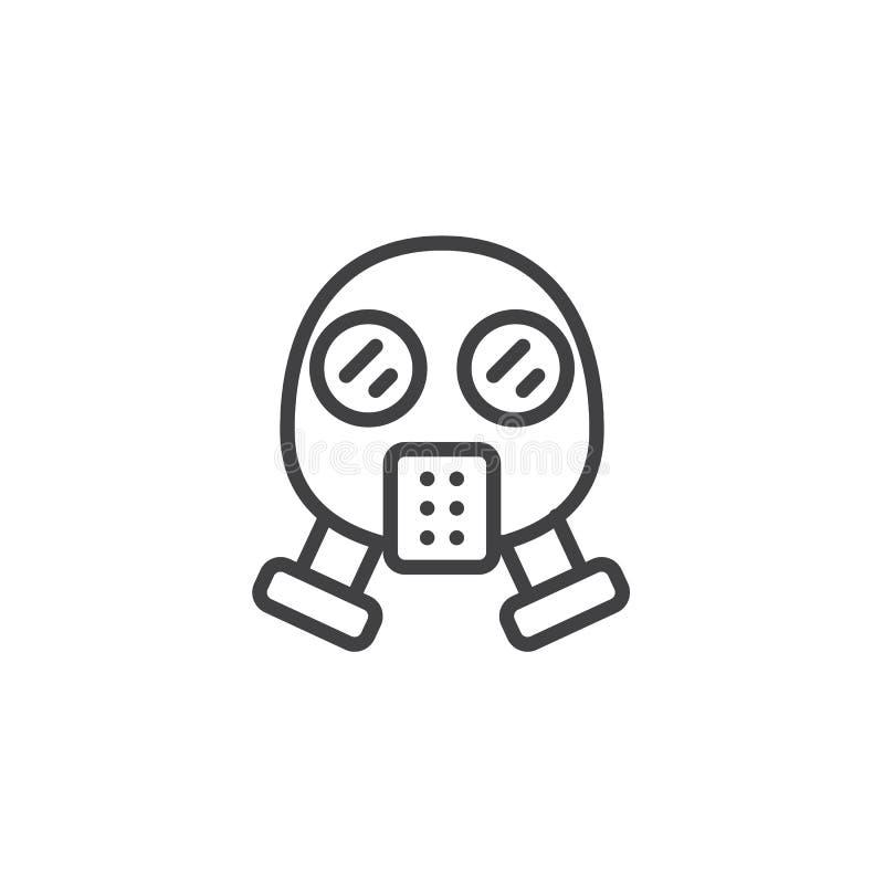 Linha ícone da máscara de gás ilustração stock