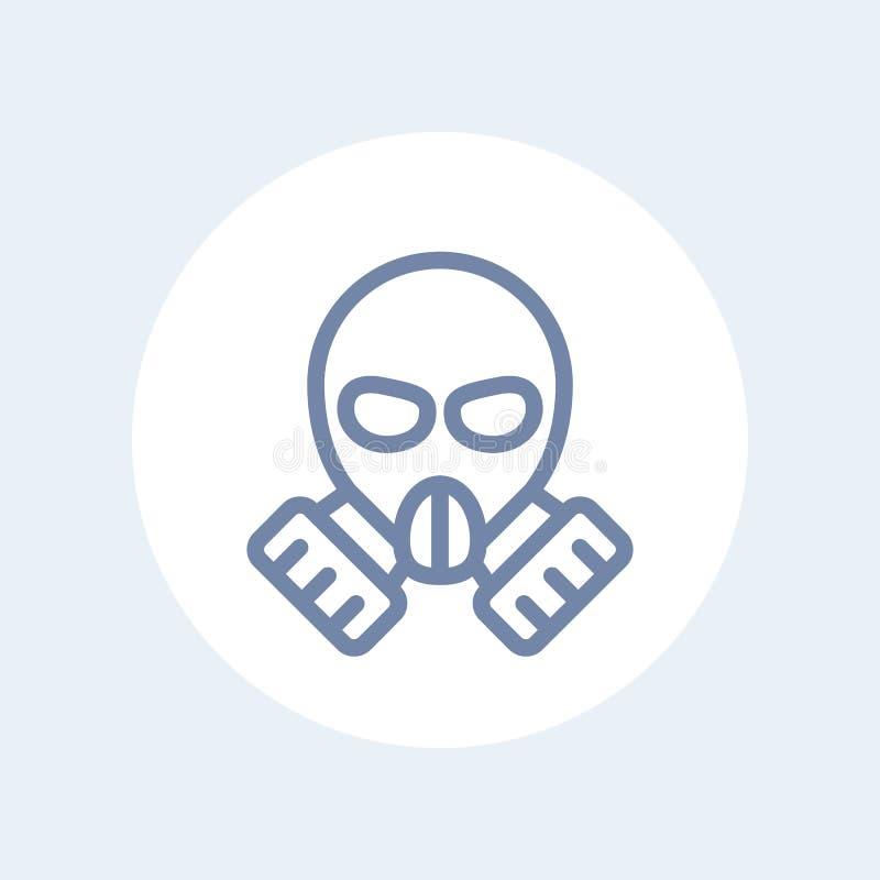 Linha ícone da máscara de gás no branco ilustração do vetor