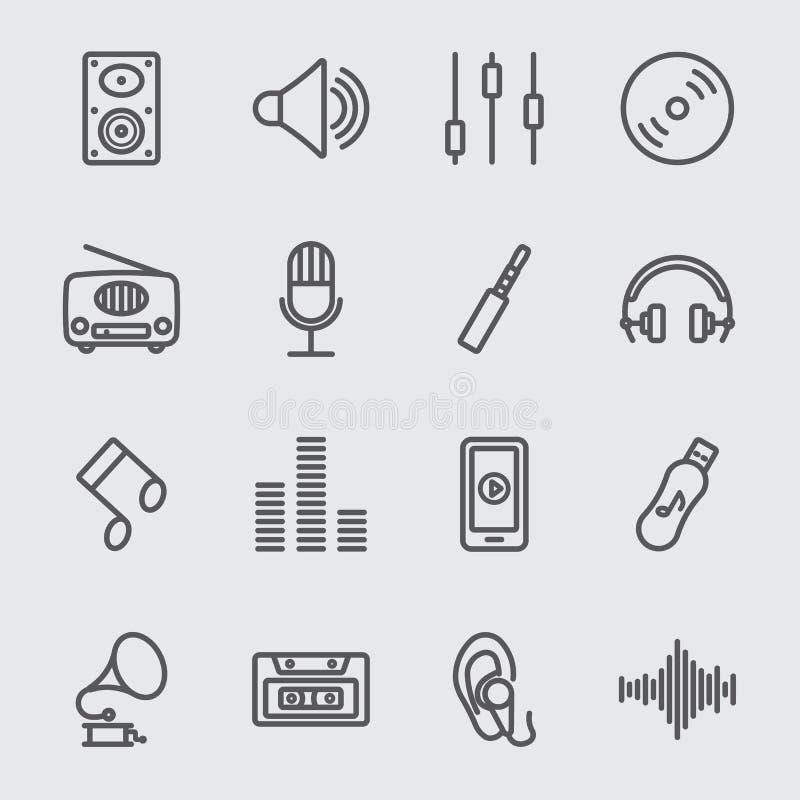 Linha ícone da música ilustração stock