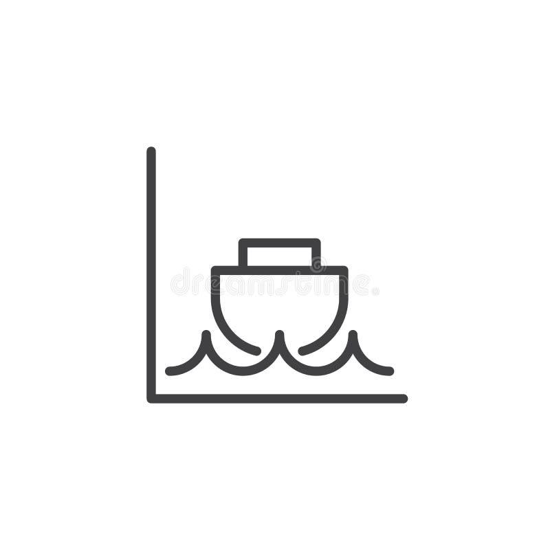 Linha ícone da maré baixa ilustração royalty free