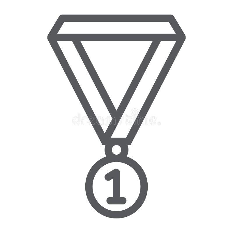 Linha ícone da medalha, escola e esporte, sinal da concessão ilustração do vetor