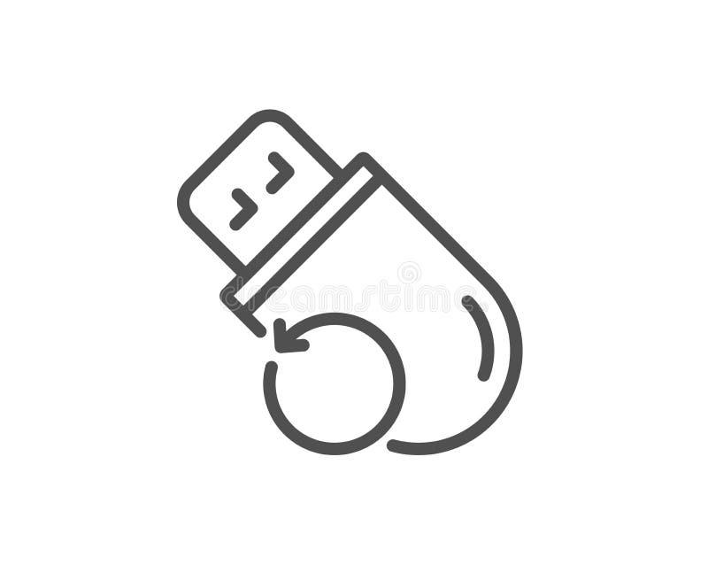 Linha ícone da memória do usb da recuperação Sinal alternativo dos dados Informa??o da restaura??o Vetor ilustração stock