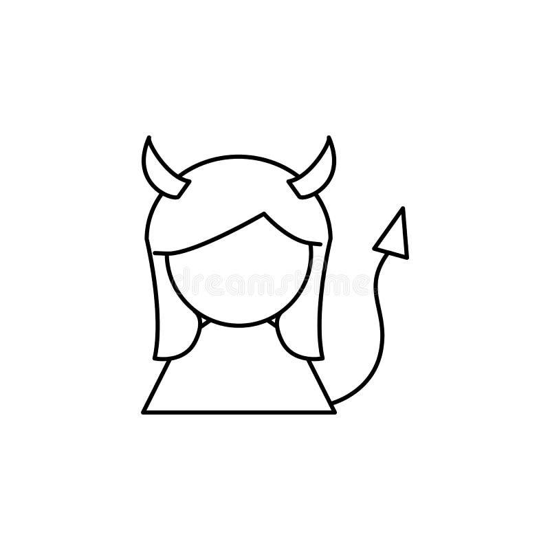 Linha ícone da menina do diabo ilustração do vetor