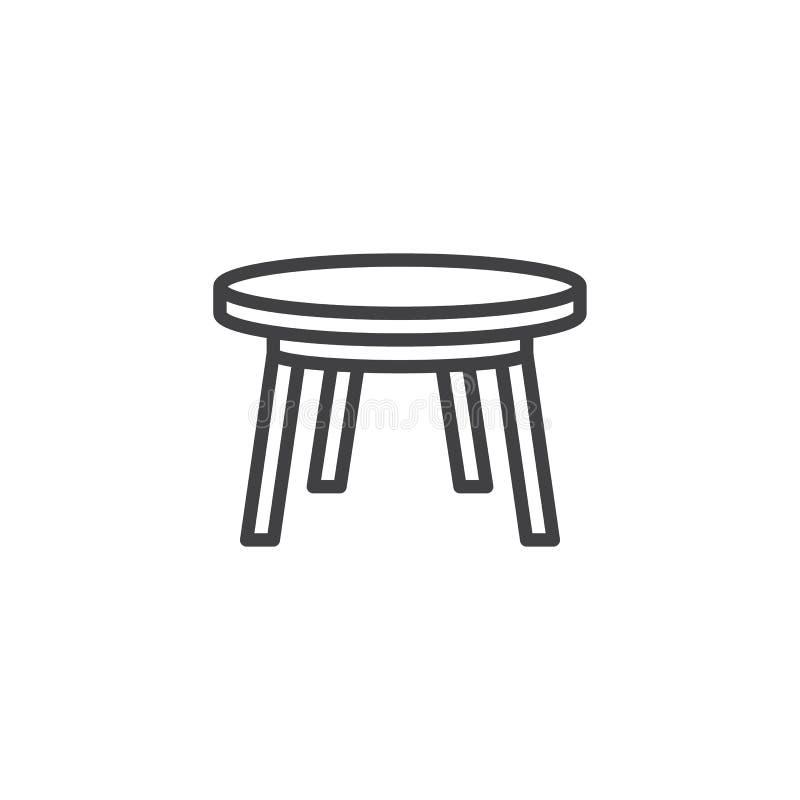 Linha ícone da mesa redonda ilustração stock