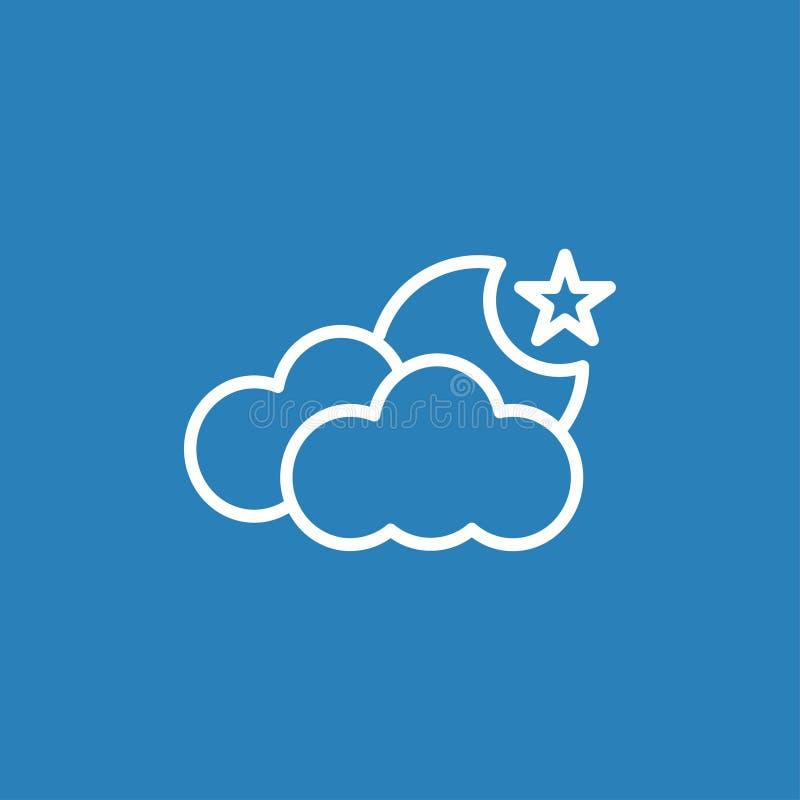 Linha ícone da nuvem e da lua do vetor imagens de stock