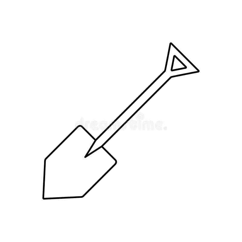 Linha ícone da pá ilustração stock