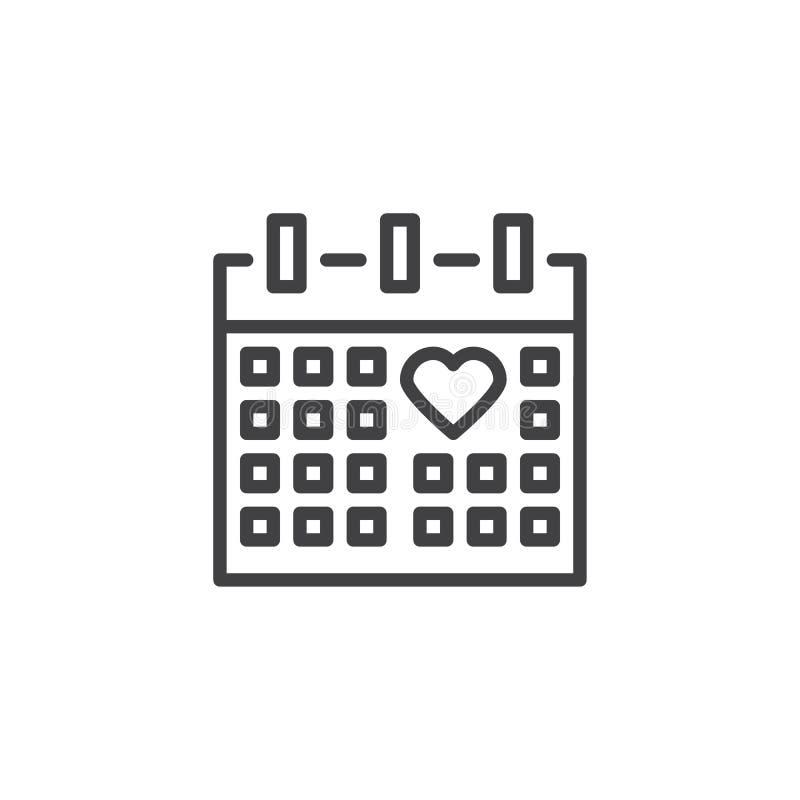 Linha ícone da página do calendário do dia do casamento ilustração stock