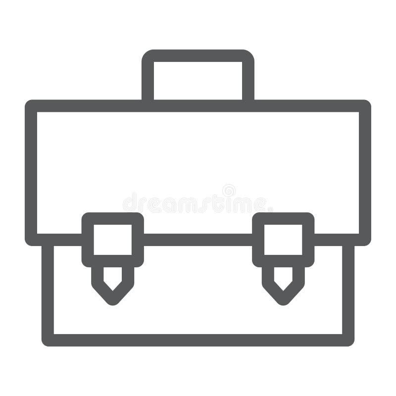 Linha ícone da pasta, saco e mala de viagem, sinal do caso, gráficos de vetor, um teste padrão linear em um fundo branco ilustração stock