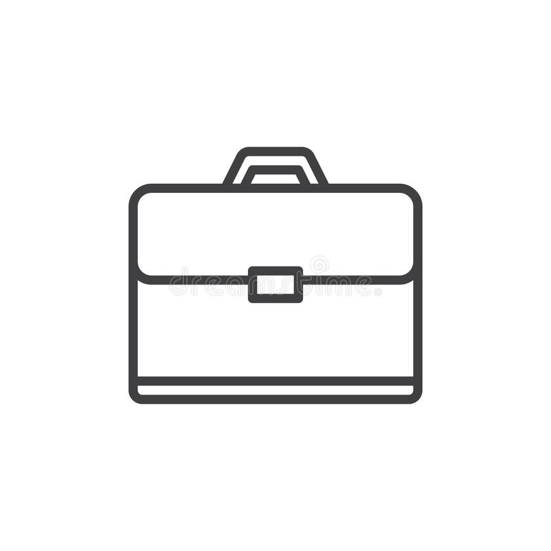 Linha ícone da pasta, sinal do vetor do esboço, pictograma linear do estilo isolado no branco ilustração royalty free