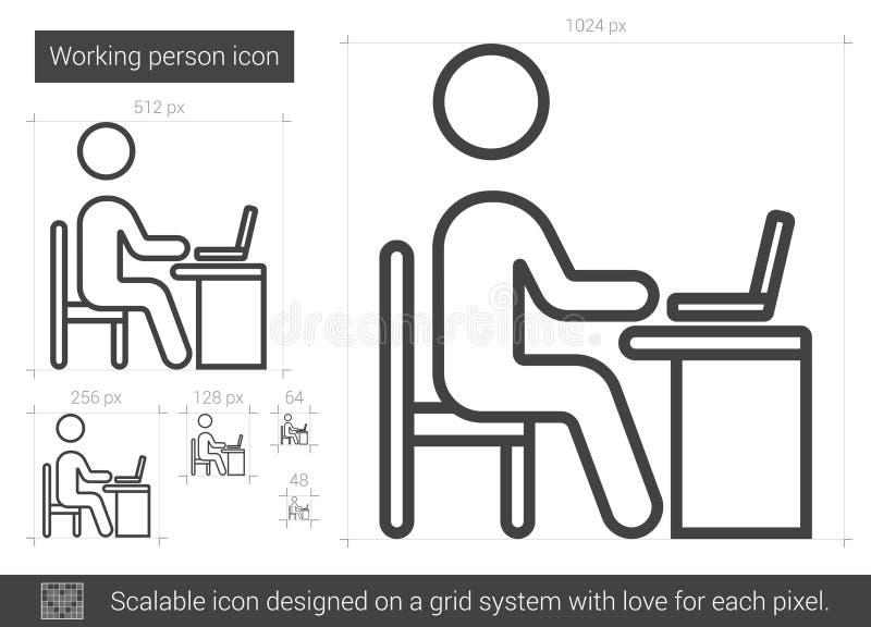 Linha ícone da pessoa de funcionamento ilustração royalty free