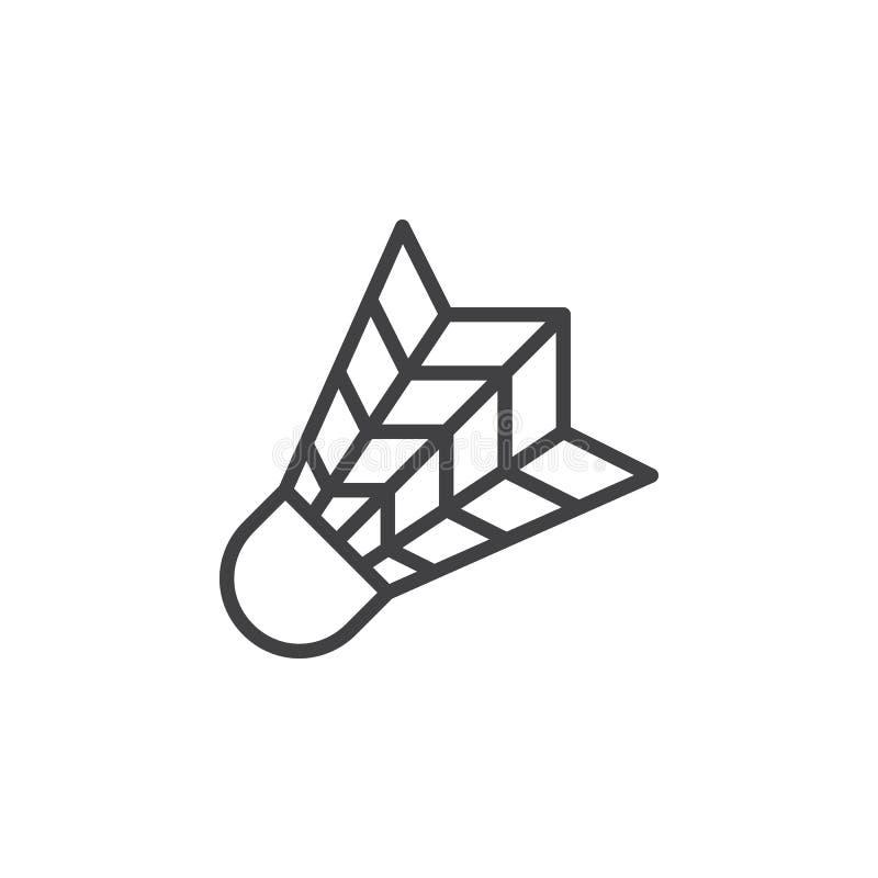Linha ícone da peteca, sinal do vetor do esboço, pictograma linear do estilo isolado no branco ilustração stock