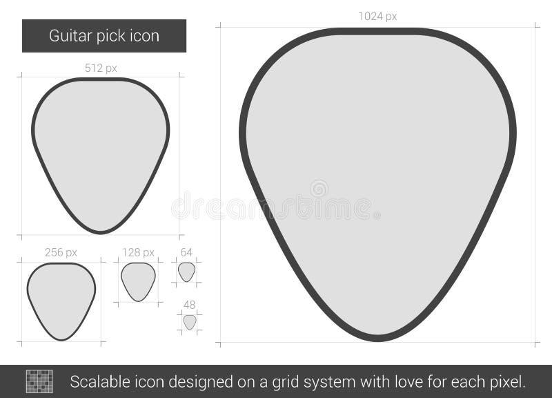 Linha ícone da picareta da guitarra ilustração do vetor